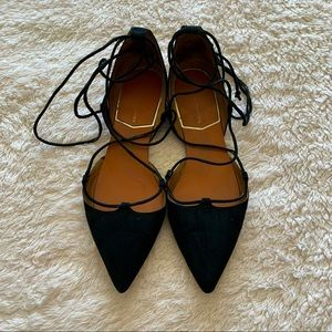 Zara basic collection suede pointy toe wrap tie mules flats